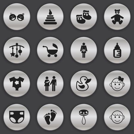 Conjunto de 16 iconos editables. Incluye símbolos como cochecito, adorno, niño alegre y más. Puede ser utilizado para diseño web, móvil, interfaz de usuario e infografía.