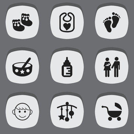 nursing bottle: Set Of 9 Editable Infant Icons. Includes Symbols Such As Shoes For Babies, Pinafore, Nursing Bottle And More. Can Be Used For Web, Mobile, UI And Infographic Design. Illustration