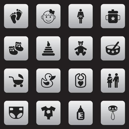 nursing bottle: Set Of 16 Editable Kid Icons. Includes Symbols Such As Tower, Nursing Bottle, Pinafore And More. Can Be Used For Web, Mobile, UI And Infographic Design. Illustration