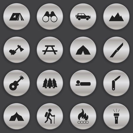 tabernacle: Set Of 16 Editable Trip Icons. Includes Symbols Such As Musical Instrument, Shelter, Gait And More. Can Be Used For Web, Mobile, UI And Infographic Design. Illustration