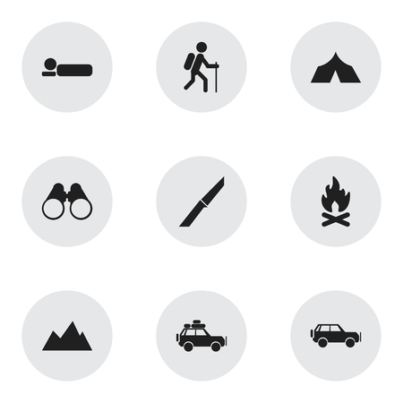 refuge: Set Of 9 Editable Trip Icons. Includes Symbols Such As Gait, Field Glasses, Refuge And More. Can Be Used For Web, Mobile, UI And Infographic Design. Illustration