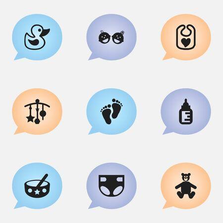 Conjunto de 9 iconos infantiles editables. Incluye símbolos como biberón, delantal, cuchara y más. Se puede usar para diseño web, móvil, de interfaz de usuario y de infografía.