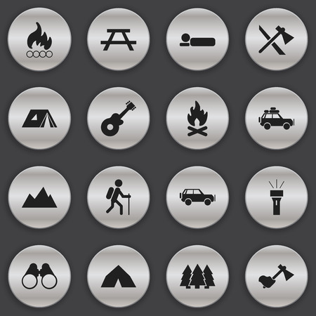 gait: Set Of 16 Editable Travel Icons. Includes Symbols Such As Ax, Gait, Tepee And More. Can Be Used For Web, Mobile, UI And Infographic Design. Illustration