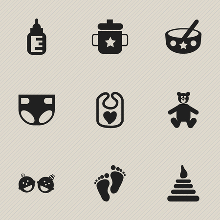 nursing bottle: Set Of 9 Editable  Icons. Includes Symbols Such As Nursing Bottle, Nappy, Teddy And More. Can Be Used For Web, Mobile, UI And Infographic Design.