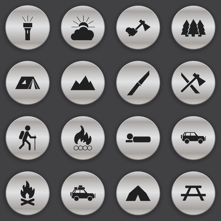pinnacle: Set Of 16 Editable Travel Icons. Includes Symbols Such As Tepee, Sunrise, Lantern And More.