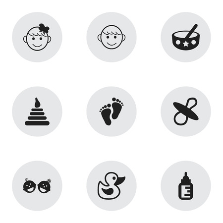 nursing bottle: Set Of 9 Editable Infant Icons. Includes Symbols Such As Cheerful Child, Twins Babies, Nursing Bottle And More. Can Be Used For Web, Mobile, UI And Infographic Design.