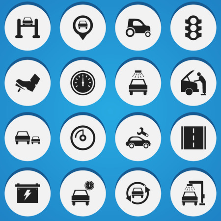treadle: Set Of 16 Editable Traffic Icons. Includes Symbols Such As Automobile, Treadle, Highway And More. Can Be Used For Web, Mobile, UI And Infographic Design.