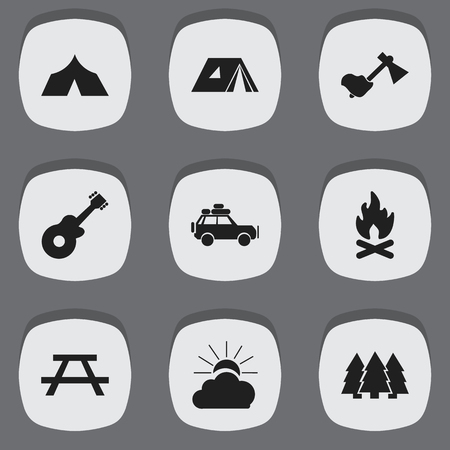 conflagration: Set Of 9 Editable Travel Icons. Includes Symbols Such As Voyage Car, Sunrise, Fever And More. Can Be Used For Web, Mobile, UI And Infographic Design.