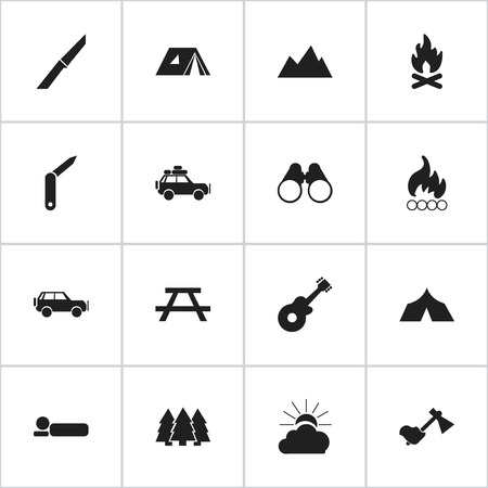 tabernacle: Set Of 16 Editable Camping Icons. Includes Symbols Such As Peak, Fever, Field Glasses And More. Can Be Used For Web, Mobile, UI And Infographic Design. Illustration