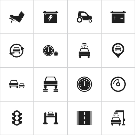 treadle: Set Of 16 Editable Car Icons. Includes Symbols Such As Speed Control, Tuning Auto, Treadle And More. Can Be Used For Web, Mobile, UI And Infographic Design. Illustration