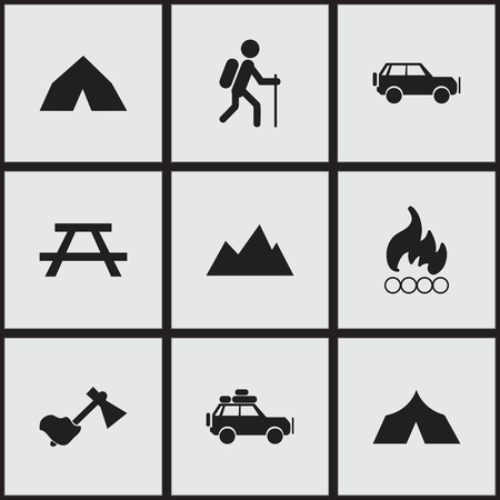 gait: Set Of 9 Editable Camping Icons. Includes Symbols Such As Peak, Blaze, Ax And More. Can Be Used For Web, Mobile, UI And Infographic Design.