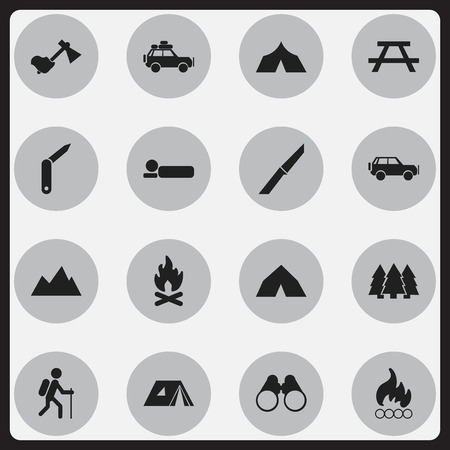 Set Of 16 Editable Camping Icons. Includes Symbols Such As Clasp-Knife, Desk, Fever And More. Can Be Used For Web, Mobile, UI And Infographic Design.