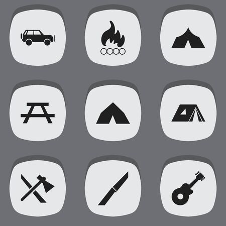 conflagration: Set Of 9 Editable Trip Icons. Includes Symbols Such As Knife, Tomahawk, Desk And More. Can Be Used For Web, Mobile, UI And Infographic Design.