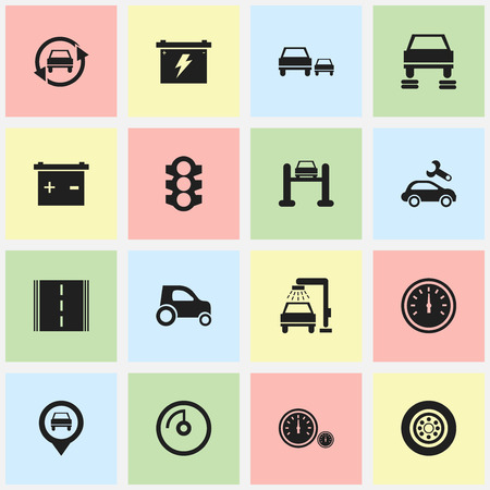 overtake: Set Of 16 Editable Transport Icons. Includes Symbols Such As Speed Display, Highway, Speed Control And More. Can Be Used For Web, Mobile, UI And Infographic Design.