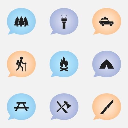 conflagration: Set Of 9 Editable Camping Icons. Includes Symbols Such As Desk, Pine, Fever And More. Can Be Used For Web, Mobile, UI And Infographic Design.