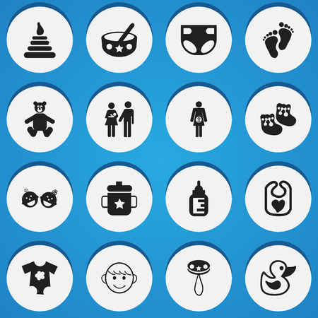 huggable: Set Of 16 Editable Kid Icons. Includes Symbols Such As Tower, Goplet, Merry Children And More. Can Be Used For Web, Mobile, UI And Infographic Design.