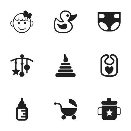 nursing bottle: Set Of 9 Editable  Icons. Includes Symbols Such As Stroller, Nursing Bottle, Tower And More. Can Be Used For Web, Mobile, UI And Infographic Design.