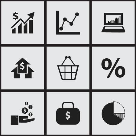 9 編集可能な論理アイコンのセットです。銀行家、グラフ情報、お金の袋などの記号が含まれます。Web、モバイル、UI、インフォ グラフィック デザ