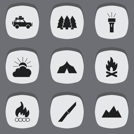 refuge: Set Of 9 Editable Travel Icons. Includes Symbols Such As Pine, Lantern, Sunrise And More. Can Be Used For Web, Mobile, UI And Infographic Design.