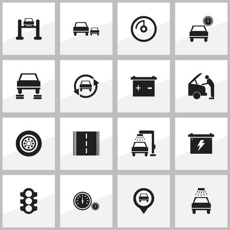 16 편집 가능한 차량 아이콘의 집합입니다. 차량 세척, 자동, 축 압기 및 기타 튜닝과 같은 기호가 포함됩니다. 웹, 모바일, UI 및 인포 그래픽 디자인에  일러스트
