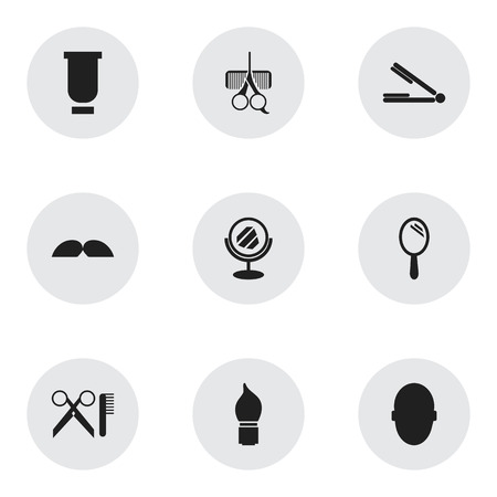 bald girl: Set Of 9 Editable Barbershop Icons. Includes Symbols Such As Hairdresser Set, Scrub, Barber Tools And More. Can Be Used For Web, Mobile, UI And Infographic Design.