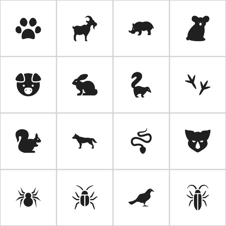 brute: Set Of 16 Editable Animal Icons. Includes Symbols Such As Cockroach, Dog, Livestock And More. Can Be Used For Web, Mobile, UI And Infographic Design.