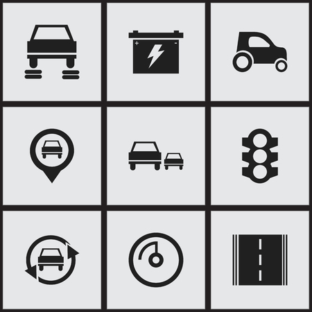 Set Of 9 Editable Transport Icons. Includes Symbols Such As Race, Speed Display, Highway And More. Can Be Used For Web, Mobile, UI And Infographic Design.