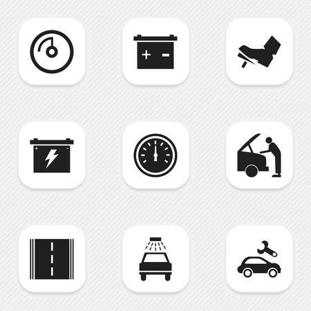 treadle: Set Of 9 Editable Traffic Icons. Includes Symbols Such As Speed Display, Car Lave, Treadle And More. Can Be Used For Web, Mobile, UI And Infographic Design. Illustration