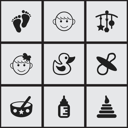 adorn: Set Of 9 Editable  Icons. Includes Symbols Such As Tower, Footmark, Merry Children And More. Can Be Used For Web, Mobile, UI And Infographic Design. Illustration