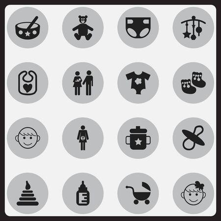 Conjunto de 16 iconos editables para niños. Incluye símbolos como Soothers, Adorn, Nappy y más. Se puede usar para diseño web, móvil, de interfaz de usuario y de infografía.