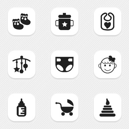 Conjunto De 9 Iconos Editable Del Bebé. Incluye símbolos tales como botella de lactancia, niño alegre, Pinafore y más. Puede ser utilizado para Web, Mobile, UI y diseño Infográfico.