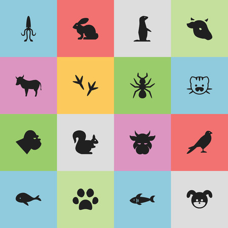 dog shark: Set Of 16 Editable Animal Icons. Includes Symbols Such As Octopus, Beast, Cow And More. Can Be Used For Web, Mobile, UI And Infographic Design.