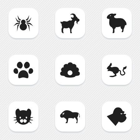 brute: Set Of 9 Editable Zoo Icons. Includes Symbols Such As Forepaw, Bison, Chimpanzee And More. Can Be Used For Web, Mobile, UI And Infographic Design.