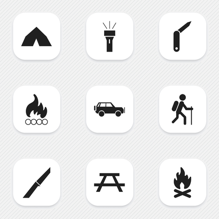 tabernacle: Set Of 9 Editable Camping Icons. Includes Symbols Such As Clasp-Knife, Gait, Lantern And More. Can Be Used For Web, Mobile, UI And Infographic Design.