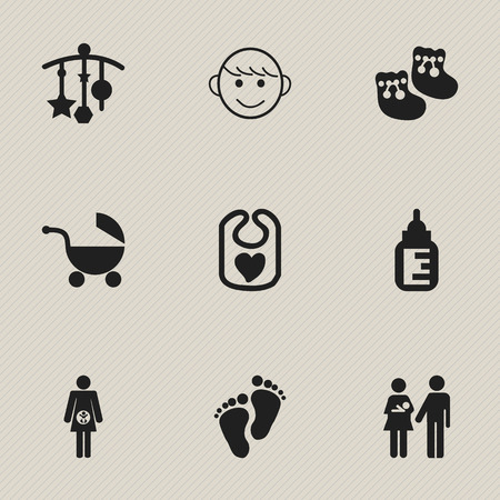 nursing clothes: Set Of 9 Editable Infant Icons. Includes Symbols Such As Footmark, Pregnancy, Nursing Bottle And More. Can Be Used For Web, Mobile, UI And Infographic Design.