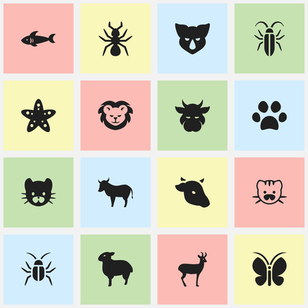 brute: Set Of 16 Editable Nature Icons. Includes Symbols Such As Cockroach, Feline, Cow And More. Can Be Used For Web, Mobile, UI And Infographic Design.