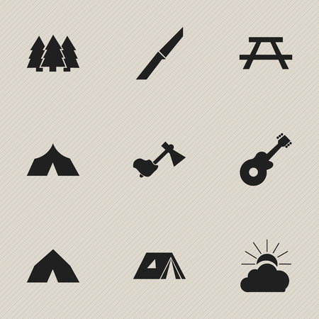 tabernacle: Set Of 9 Editable Camping Icons. Includes Symbols Such As Pine, Desk, Refuge And More. Can Be Used For Web, Mobile, UI And Infographic Design.
