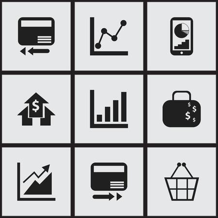 9 編集可能な解析アイコンのセットです。銀行家、グラフの情報、クレジット カードなどの記号が含まれます。Web、モバイル、UI、インフォ グラフ