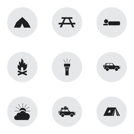 tabernacle: Set Of 9 Editable Trip Icons. Includes Symbols Such As Voyage Car, Shelter, Fever And More. Can Be Used For Web, Mobile, UI And Infographic Design.