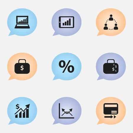 Set Of 9 Editable Analytics Icons. Includes Symbols Such As Money Bag, Revenue, Cash Briefcase And More. Can Be Used For Web, Mobile, UI And Infographic Design.