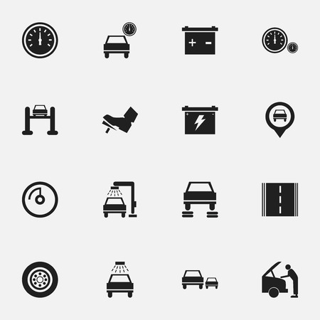 Includes Symbols Such As Auto Repair, Vehicle Wash, Accumulator And More. Can Be Used For Web, Mobile, UI And Infographic Design. Illustration