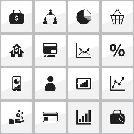 16 編集可能な論理アイコンのセットです。電話の統計情報、現金のブリーフケース、グラフ情報などの記号が含まれています。Web、モバイル、UI、イ
