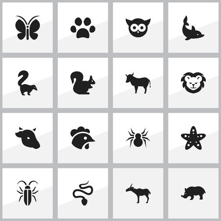 ox eye: Set Of 16 Editable Zoology Icons. Includes Symbols Such As Serpent, Cow, Bug And More. Can Be Used For Web, Mobile, UI And Infographic Design.