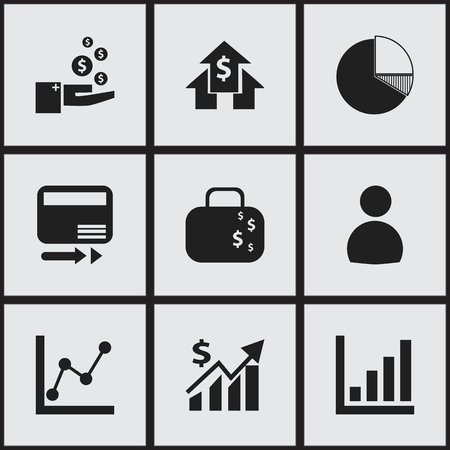relational: Set Of 9 Editable Analytics Icons. Includes Symbols Such As User, Pay Redeem, Revenue And More. Can Be Used For Web, Mobile, UI And Infographic Design.