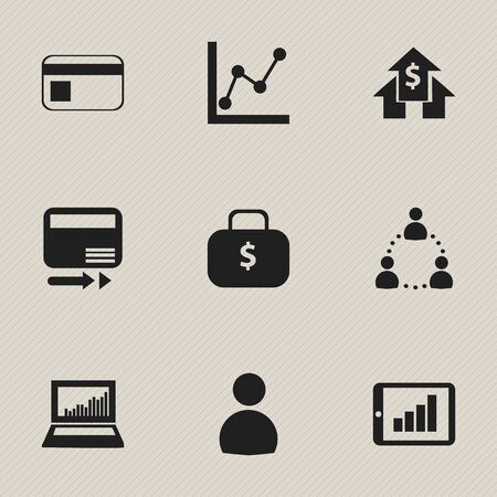 relational: Set Of 9 Editable Logical Icons. Includes Symbols Such As Banking House, Money Bag, Bar Chart And More. Can Be Used For Web, Mobile, UI And Infographic Design.