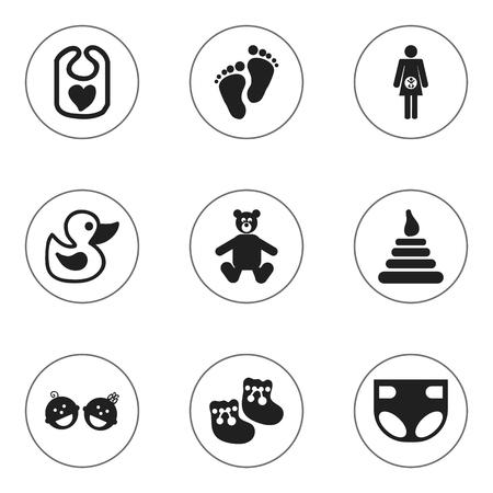 Conjunto de 9 iconos infantiles editables. Incluye símbolos como Tower, Pinafore, Nappy y más. Se puede usar para diseño web, móvil, de interfaz de usuario y de infografía.