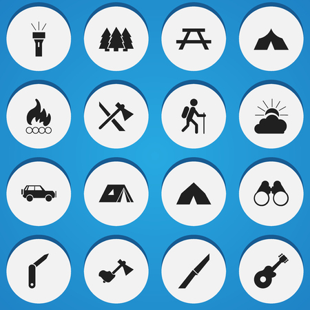 tabernacle: Set Of 16 Editable Trip Icons. Includes Symbols Such As Blaze, Desk, Clasp-Knife And More. Can Be Used For Web, Mobile, UI And Infographic Design. Illustration