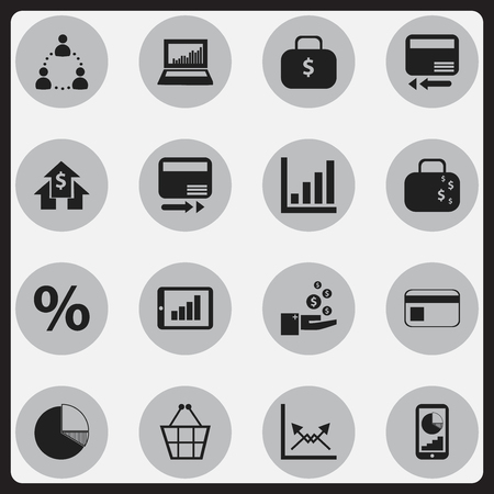 Set Of 16 Editable Analytics Icons. Includes Symbols Such As Pay Redeem, Money Bag, Bar Chart And More. Can Be Used For Web, Mobile, UI And Infographic Design. Illustration