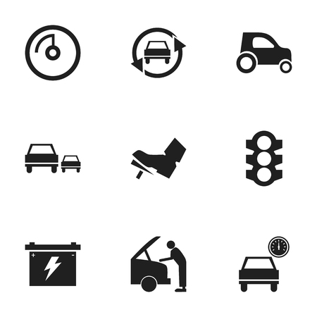 Set Of 9 Editable Car Icons Includes Symbols Such As Tuning