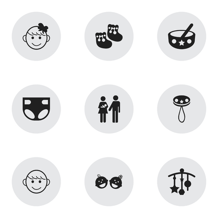 pareja comiendo: Set Of 9 Editable Baby Icons. Includes Symbols Such As Adorn, Rattle, Nappy And More. Can Be Used For Web, Mobile, UI And Infographic Design.